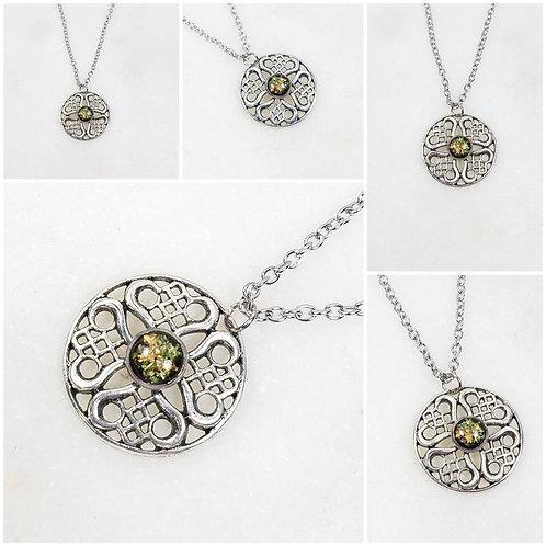 Memorial Ash Silver Plated Celtic Pendant Necklace /Cremation Necklace/Pet Ash M