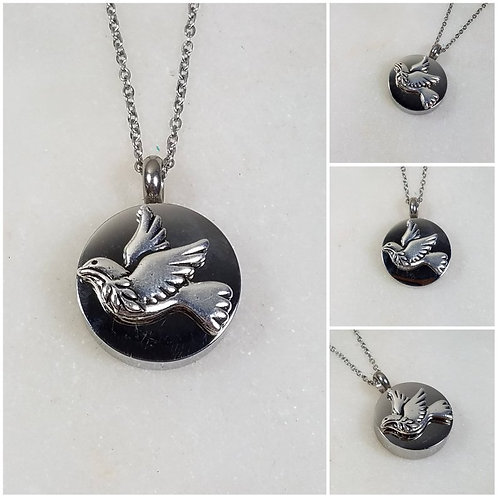 Memorial Ash Stainless Steel Cremation Dove Olive Branch Necklace/Cremation Pend