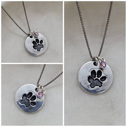 Memorial Ash Pure Silver Dog Paw Cremation Stone Necklace/Cremation Pendant/