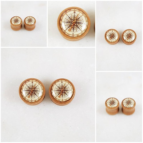 Cremation Wood Compass Memorial Ash Tunnle Ear Plugs Piercing/Memorial Jewelry/P