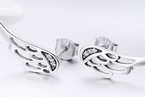 Studiodragonfly19 Cremation Angel Wing Sterling Silver CZ Stone Earrings/ Memori