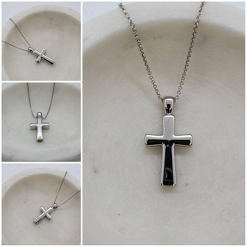 Memorial Ash Stainless Steel Cremation Cross Urn Necklace/Cremation Pendant