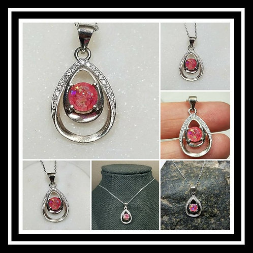 Memorial Ash Pear Sterling Silver Cubic Zirconia Necklace/Cremation Pendant/ Pet