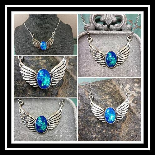 Memorial Ash Oval Wing Necklace/Cremation Pendant/ Pet Memorial Jewelry/ Memoria