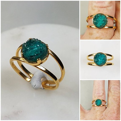 Memorial Ash Druzy 24k Gold Plated Ring/ Cremation Ring