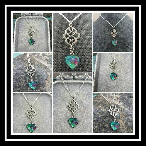 Swirl Heart Memorial Ash Pendant/ Memorial Jewelry/Ash Necklace/Cremation Neckla