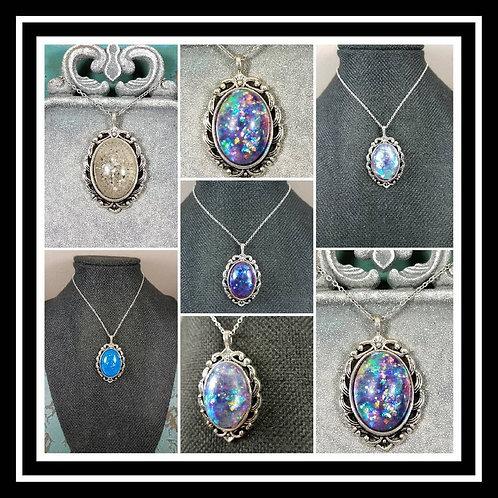 Memorial Ash Vintage Necklace/Cremation Pendant/ Pet Memorial Jewelry/ Memorial