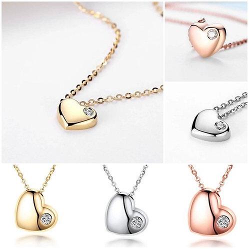 Studiodragonfly19 Minimalist Heart 18k Gold Diamond Memorial Ash Necklace
