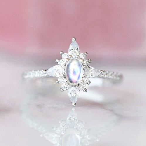 Studiodragonfly19 Memorial Ash Sterling Silver Starburst Oval Moonstone Ring