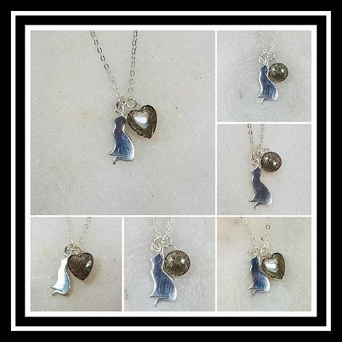 Memorial Ash Silver Cat Necklace/Cremation Pendant/ Pet Memorial Jewelry/ Memori