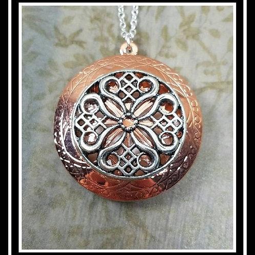Copper and Silver Memorial Ash Ornate Locket Pendant Necklace