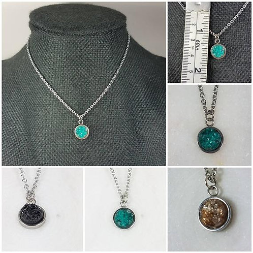 Memorial Ash Stainless Steel Bezel Druzy Stone Pendant Necklace