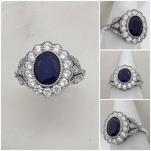 Studiodragonfly19 Memorial Ash 10k Gold Sapphire Diamond Ring/Memorial Ash