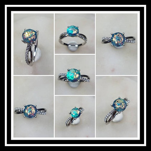 Memorial Ash Sterling Silver Cubic Zirconia Ring /Memorial Ash Cremation Ring/Pe