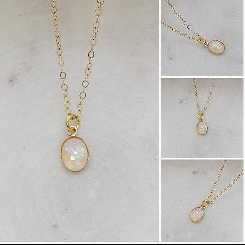 Memorial Ash Gold Filled Oval Necklace/Memorial Necklace /Pet Memorial N