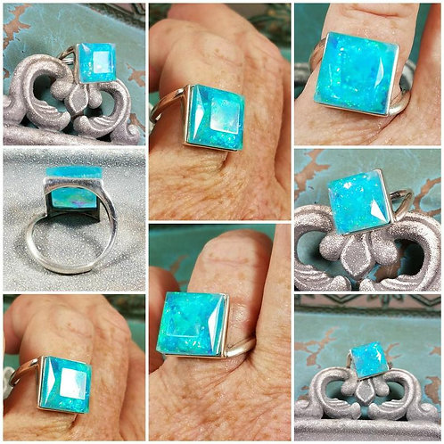 Square Faceted Sterling Silver Memorial Ash Ring/Memorial Ash Jewelry/Pet Memori