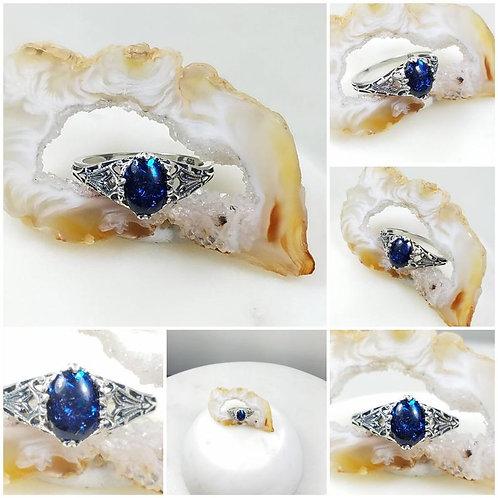 Memorial Ash Vintage Sterling Silver Cremation Ring /Memorial Ash Cremation Ring