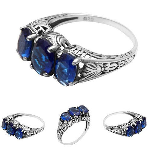 Studiodragonfly19 Gem Stone Vintage Sterling Silver 3 Stone Sapphire CZ Ring