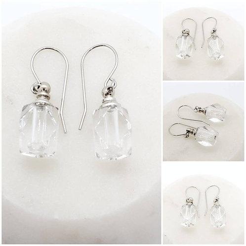 Faceted Glass Urn Bottle Earrings Memorial Ash/ Memorial Ash Earrings/ Pet