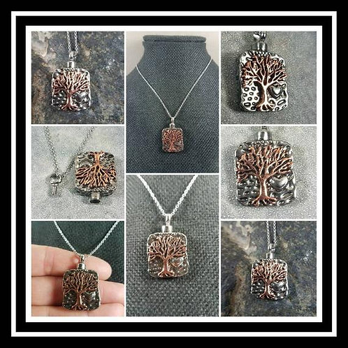 Stainless Steel Memorial Ash Urn Necklace