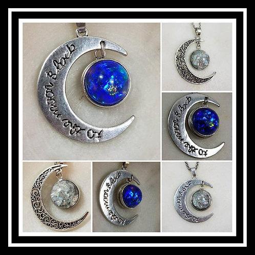Memorial Ash Moon Pendant Necklace/Cremation Pendant/ Pet Memorial Jewelry/Crema