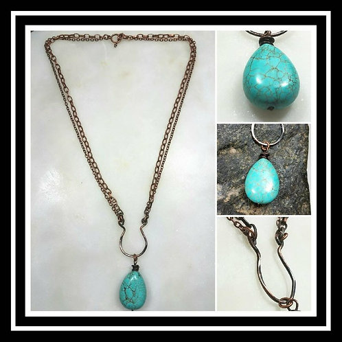 Memorial Cremation Hammered Copper Turquoise Artisan Necklace/Patina or Bright C