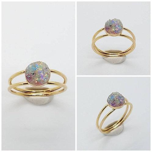Memorial Ash Druzy Gold Filled Ring/ Cremation Ring/Pet Memorial Ring