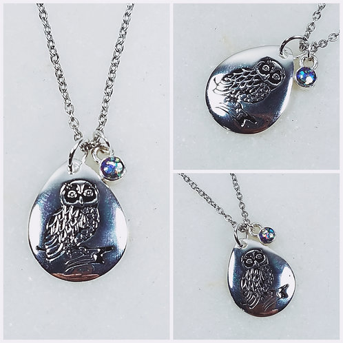 Sterling Silver Owl Cremation Ash Charm Necklace