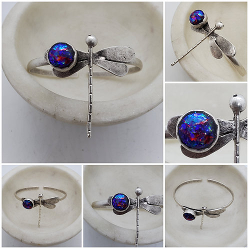 Memorial Ash Silver Plated Dragonfly Bracelet /Cremation Jewelry/Cremation brace
