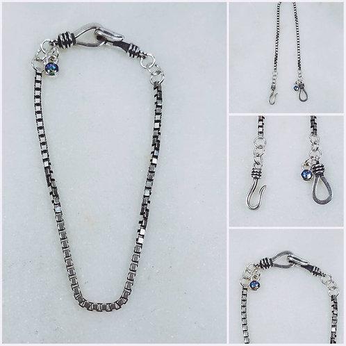 Sterling Silver Memorial Ash Box Chain Bracelet/Memorial Ash Jewelry/Pet Memoria