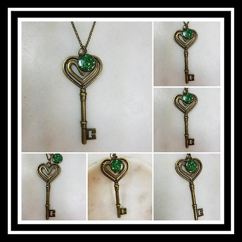 Memorial Ash Bronze Heart Key Pendant Necklace/Cremation Pendant/ Pet Memorial J