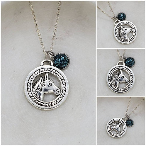 Memorial Ash Silver Plated Horse Charm Stainless Steel Bezel Pendant Necklace