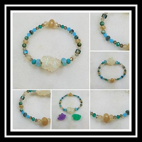 Memorial Ash Crystal Glass Beaded Wing Heart Bracelet/Cremation Charm Bracelet/P