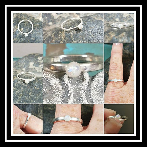 Sterling Silver Memorial Ash Ring/Memorial Ash Jewelry/Pet Cremation Jewelry/65