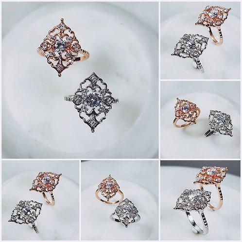 Studiodragonfly19 Memorial Ash Gold Oval CZ Ring/Memorial Ash JewelryPet Memoria