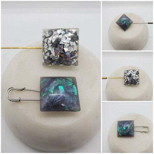 Memorial Ash Cremation Square Brooch Pin/Cremation Jewelry/ Cremation Pin/Pet
