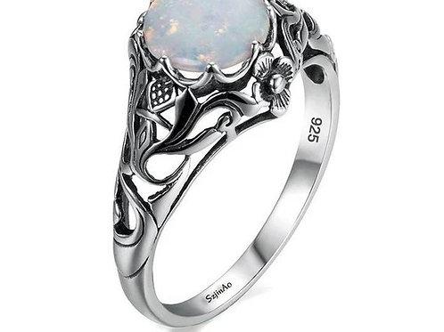 Studiodragonfly19 Gem Stone Memorial Ash Sterling Silver Opal Cremation Ring
