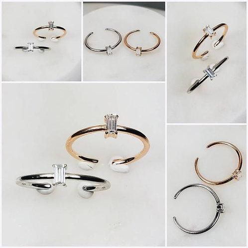 Studiodragonfly19 Memorial Ash Minimalist Sterling Silver CZ Baugette Ring