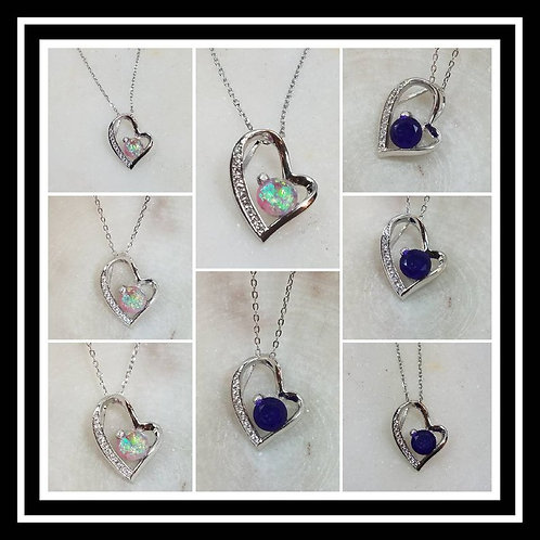 Memorial Ash Sterling Silver Cubic Zirconia Heart Pendant Necklace/Cremation Pen