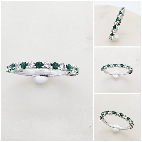 Studiodragonfly19 Memorial Ash Minimalist 3/4 Eternity Diamond Emerald Ring
