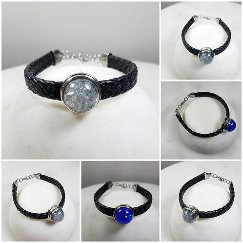 Black Leather Snap Memorial Charm Bracelet /Cremation Bracelet /Pet Memorial/Ash