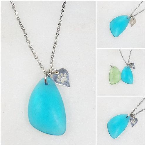 Studiodragonfly19 Memorial Ash Beach Glass Heart Paw Charm Pendant Necklace/Crem