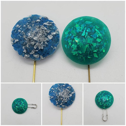 Memorial Ash Cremation Round Faceted Brooch Pin/Cremation Jewelry/ Cremation