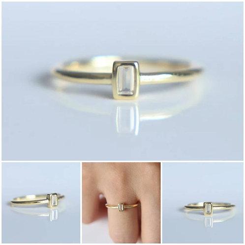 Memorial Ash Minimalist Gold Sterling Silver Baguette CZ Bezel Ring/ Memorial As