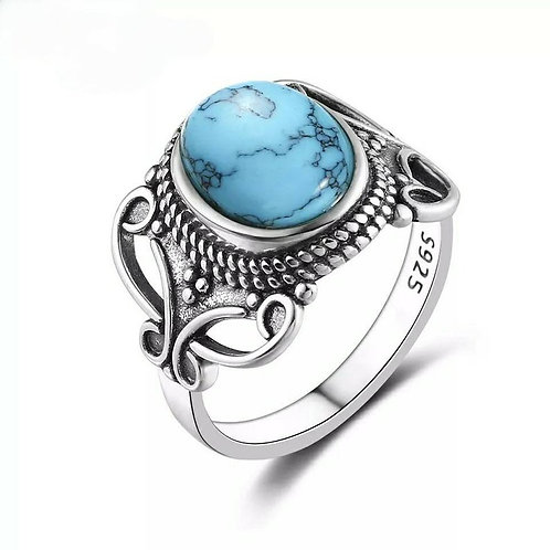 Studiodragonfly19 Gem Stone Memorial Ash Natural Turquoise Bezel Ring/ Memorial