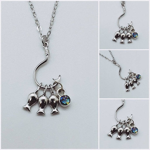 Memorial Ash Cremation Sterling Silver 3 Fish Necklace/Cremation Pendant