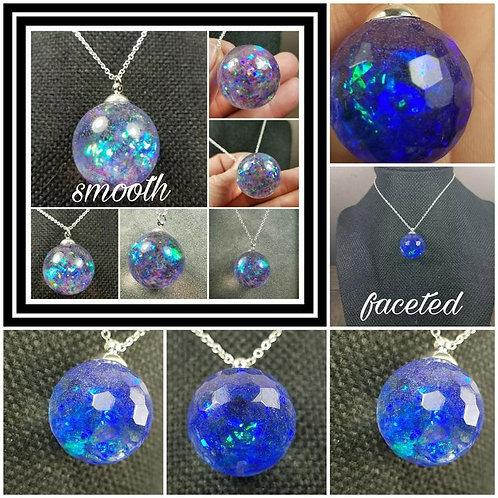 Memorial Ash Sphere Pendant/ Memorial Jewelry/ Ash Necklace/Pet Memorial/Cremati