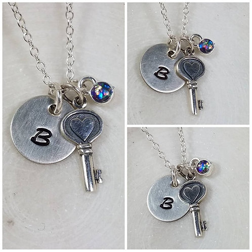 Memorial Ash Sterling Silver Key Heart Initial Pendant Necklace /Cremation Neckl