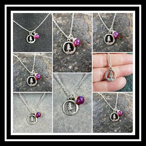 Memorial Ash Little Pine Pendant Necklace/Cremation Pendant/Pet Memorial Jewelry