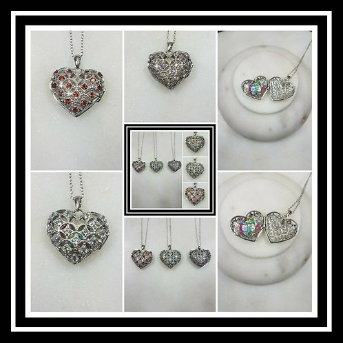 Memorial Ash Sterling Silver Heart Gem Stone Locket Pendant Necklace/Cremation P